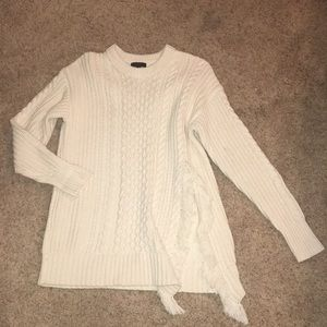 J.Crew cable knit/ fringe sweater